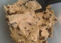 Combining the cookie dough and choc chips
