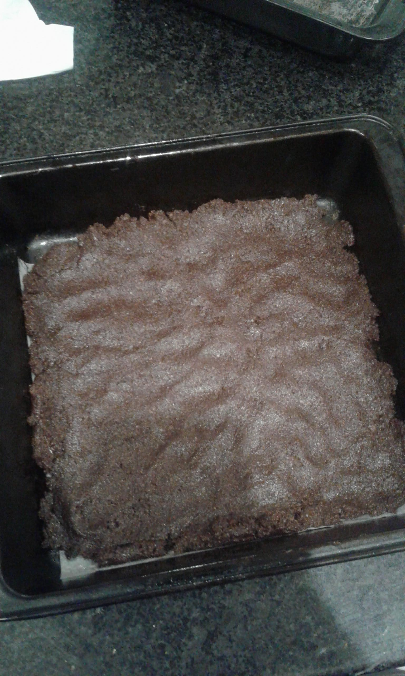 Baked cookie slab ready to turn into crumbs